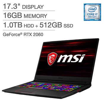 MSI GE75 Raider Gaming Laptop - 9th Gen Intel Core i7-9750H - GeForce RTX 2060 - 144Hz 1080p Display - $1399