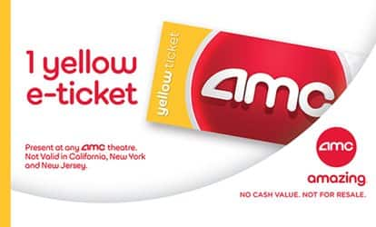 One AMC Yellow E-Ticket at AMC Theatres for $8.99 saving up to (40% Off) varies by market @ Groupon(Not valid in California, New York, and New Jersey)