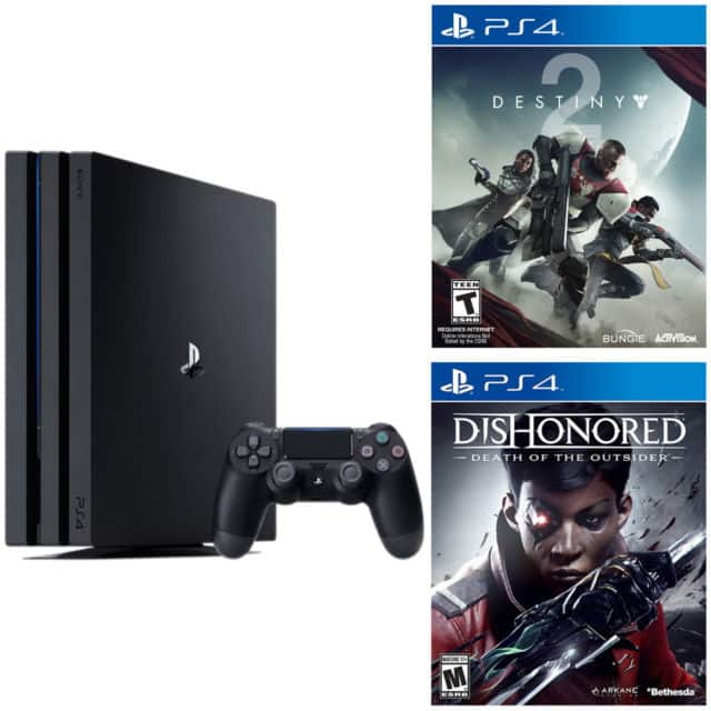 New Sony PlayStation 4 Pro Launch Edition 1TB Black Console + destiny 2 + Dishonored death of the outsider for $400 + FS Newegg via eBay