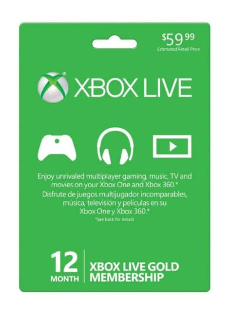 Microsoft Xbox 12-Month Gold Membership Card for $42.99 + FS @ eBay