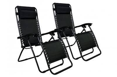 New Zero Gravity Chairs Case Of 2 Lounge Patio Chairs Outdoor for $39.99 + FS @ eBay