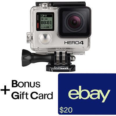 GoPro HERO4 Black Camera Refurbished + $20 eBay Gift Card with purchase(includes 1 Year Manufacturer Warranty) for $220 + FS GoPro via eBay
