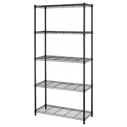 """5-Tier Adjustable Steel Wire Metal Shelving Rack - 72"""" x 36"""" x 14"""" (Black) for $ 35.99 w/coupon code + FS @ Rakuten"""