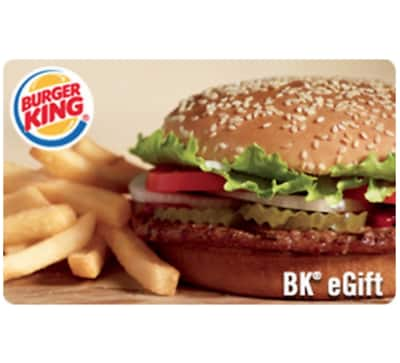$25 burger King gift card for $20 + email delivery @ eBay
