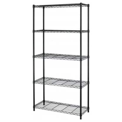 "5-Tier Adjustable Steel Wire Metal Shelving Rack - 72"" x 36"" x 14"" (Black) for $34.99 w/coupon code + FS @ Rakuten"