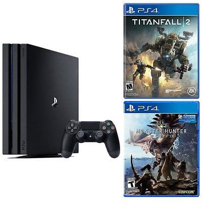 New Playstation 4 Pro 1TB console + Monster Hunter : World + Titanfall 2 for $399 + FS Newegg via eBay