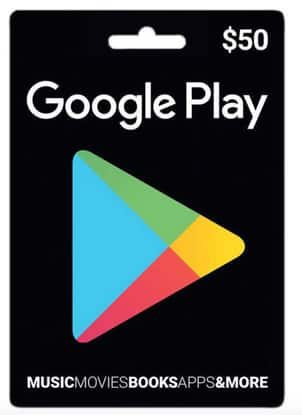Google Play $50 (PHYSICAL CARD) gift card for $46 w/coupon code + FS @ Rakuten