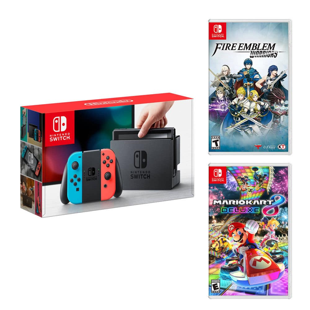 New Nintendo Switch Neon Blue&Red Joy-Con +Fire Emblem Warriors +Mario Kart 8 Deluxe for $370 + FS Newegg via eBay