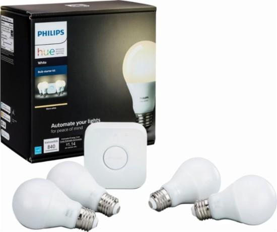 Philips - Hue White A19 LED Starter Kit (4-pack) + get a free Google home mini for $99.99 + FS @ Best buy
