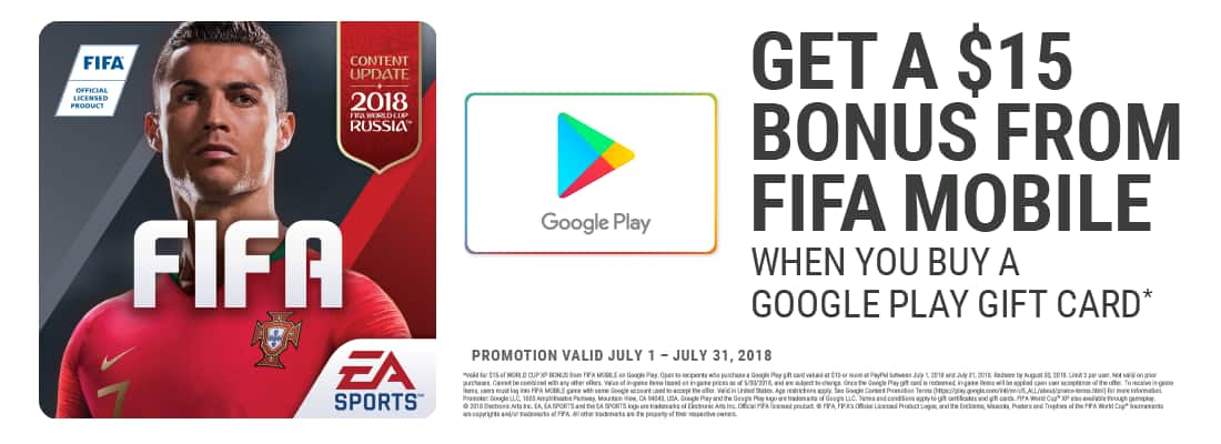 Purchase a Google Play gift card valued at $10 or more at PayPal and get Google Play $15 Bonus From FIFA Mobile (valid July 1 - July 31, 2018, limit 2 per user) @ PPDG