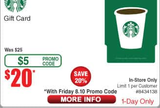 $25 Starbucks GC for $20 (B&M only) w/promo code @ Frys