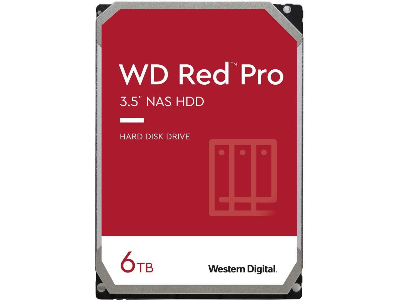 """Western Digital 6TB WD Red Pro NAS Internal Hard Drive - 7200 RPM Class, SATA 6 Gb/s, CMR, 256 MB Cache, 3.5"""" - WD6003FFBX $135.99"""