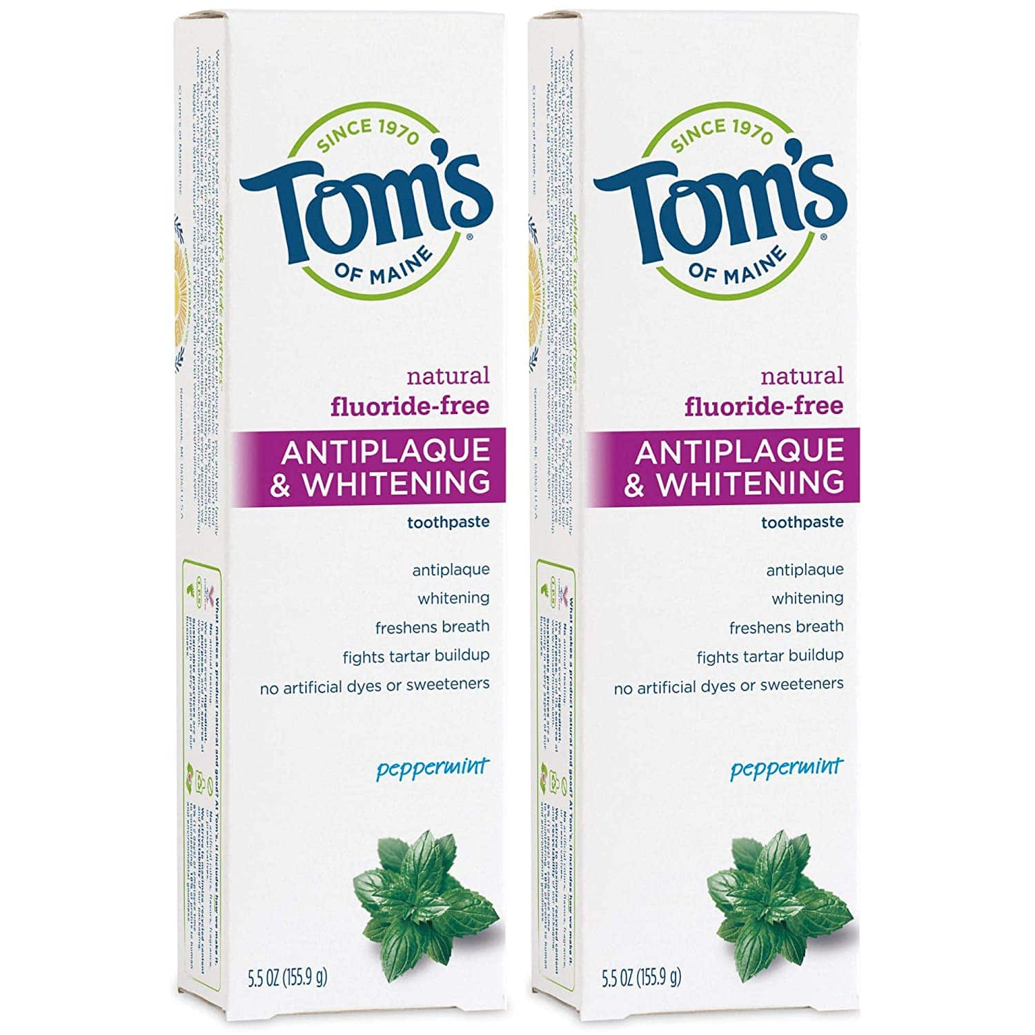 2-Pack 5.5-Oz Tom's of Maine Fluoride Free Toothpaste (Peppermint) $5.60 + Free Shipping w/ Prime or $25+