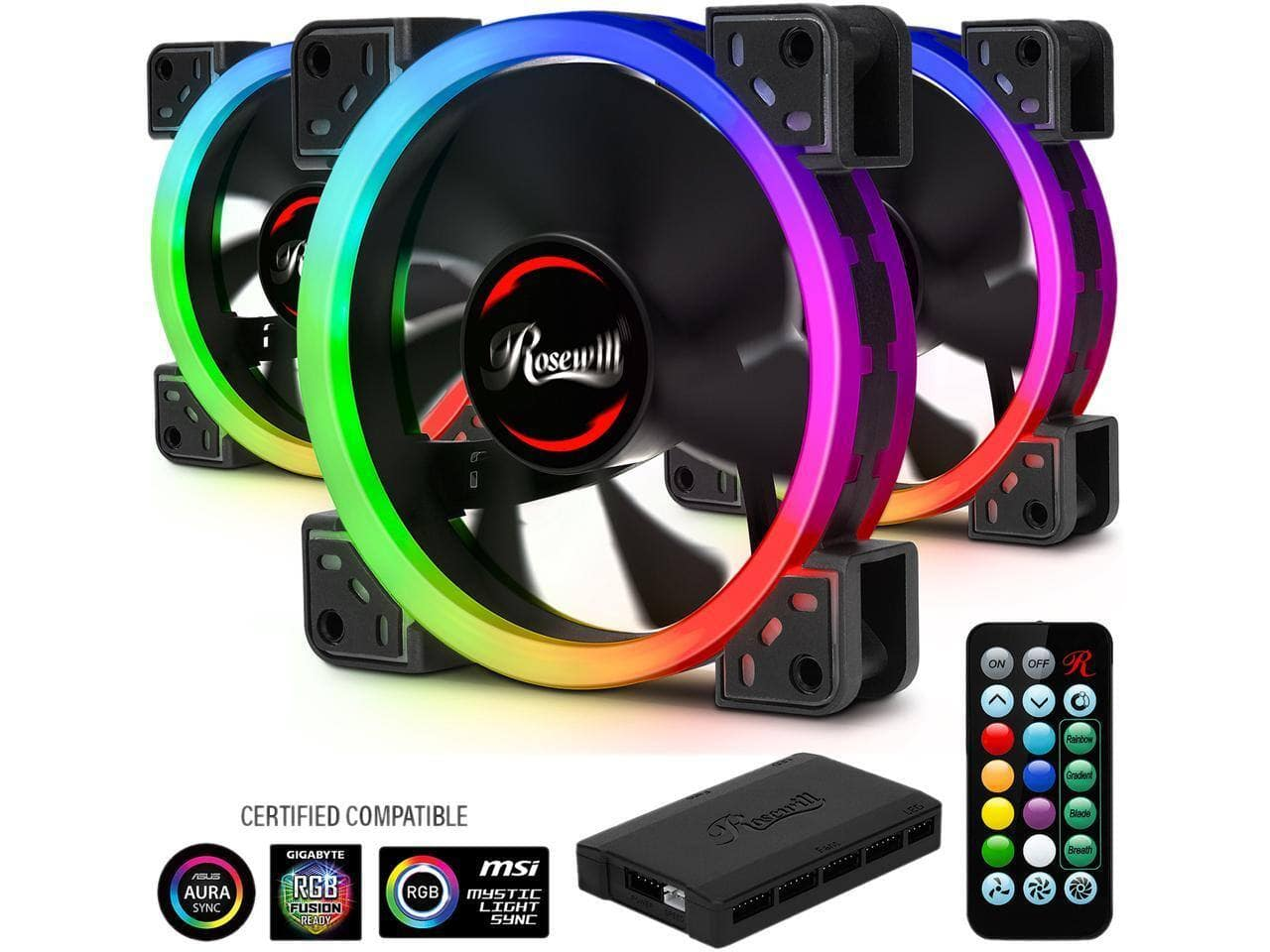 Rosewill RABF-131409 140mm Computer Case Cooling Fan w/ LP4 Adapter $6.99, 3-Pack Rosewill RGBF-S12001 120mm Dual Ring Addressable RGB Case Fan Hub Set $34, More + Free Shipping