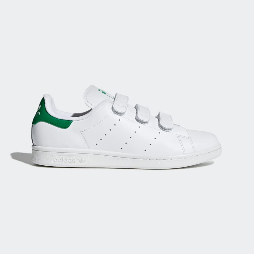 Adidas Men's Stan Smith Shoes (Hook-and-Loop Straps, cloud white/green) $40 + Free Shipping