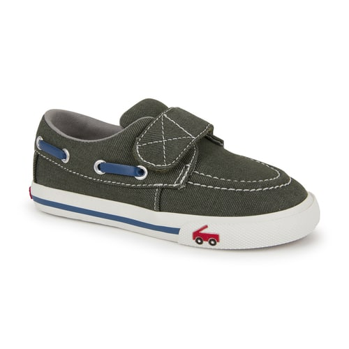 See Kai Run: Girls' Kristin Canvas Lined Sneakers (yellow daisy) $18, Boys' Elias Boat Shoes (olive denim) $18 + FS on $50+