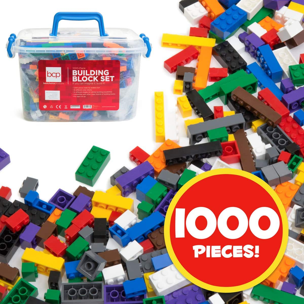 1000-Piece Kids' Building Blocks w/ Container $20 + Free Shipping