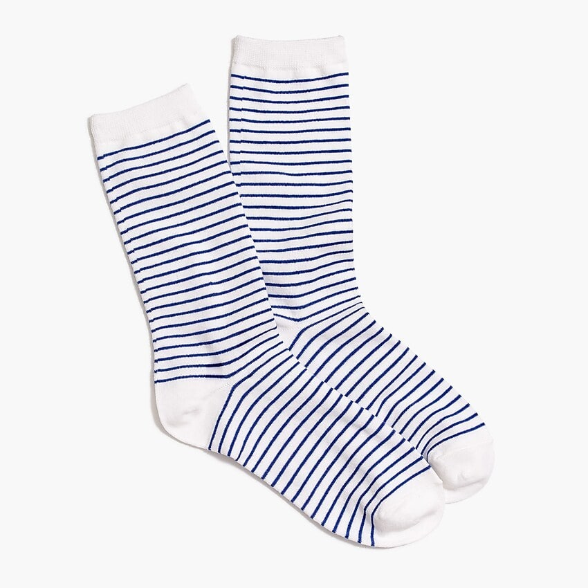 J. Crew Factory: Extra 60% Off clearance: Striped Trouser Socks $1.70, Women's Sequin T-Shirt $6.80, Men's Ripstop Mountaineering Pants $6.80 & More + FS