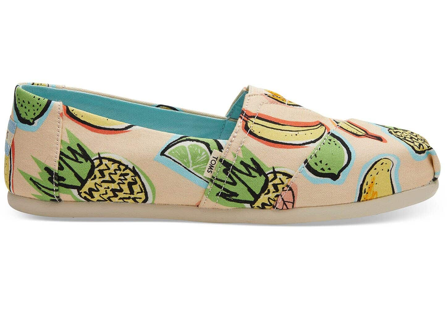 TOMS' Women's Coral Pink Cuban Fruits Classic Shoes $24, Youth Deep Lake Happy Dot Classic Shoes $24 + FS on $59+