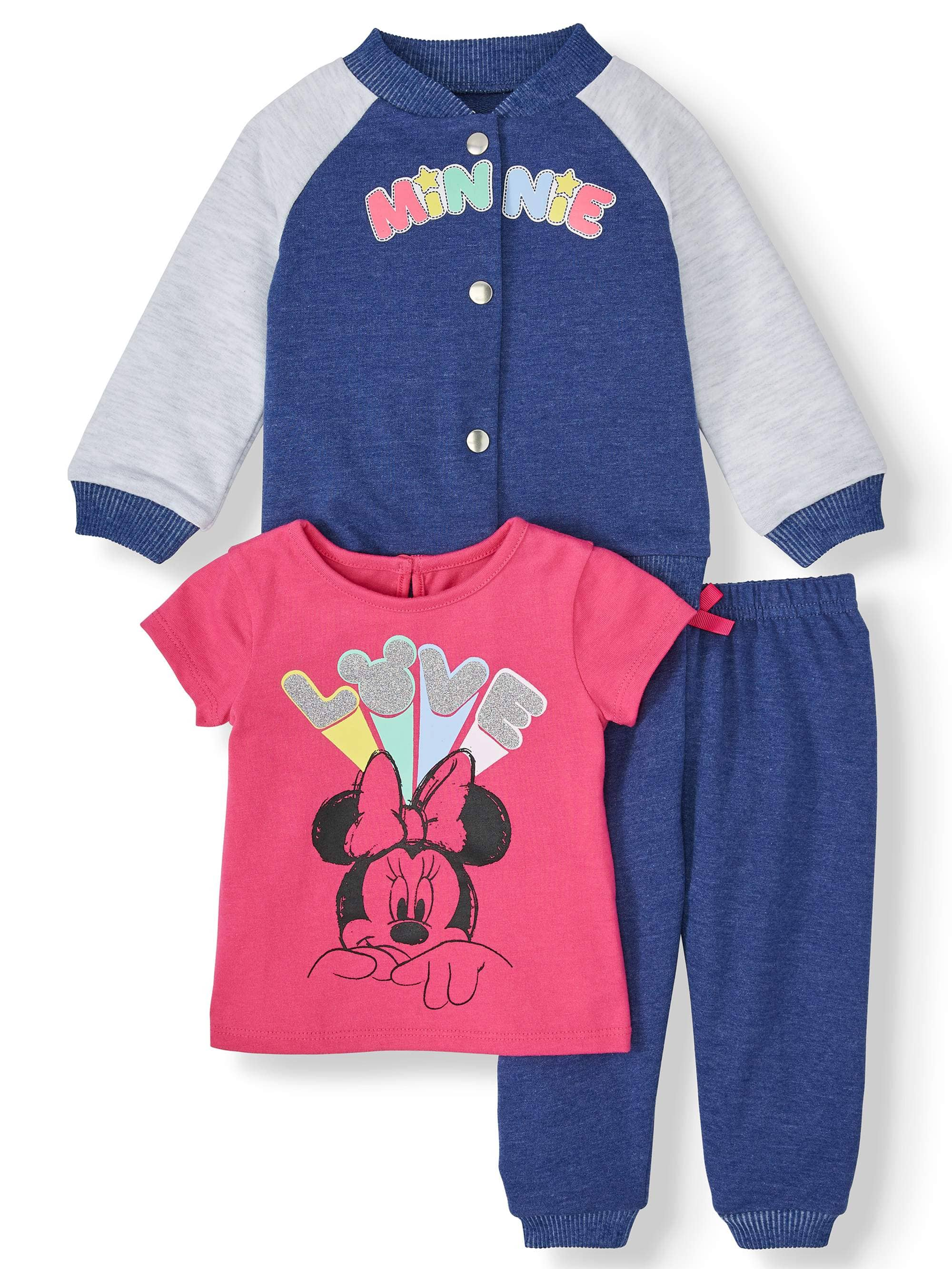 3-Piece Disney Baby Girl Minnie Mouse Outfit Set $10.50 + Free Store Pickup at Walmart