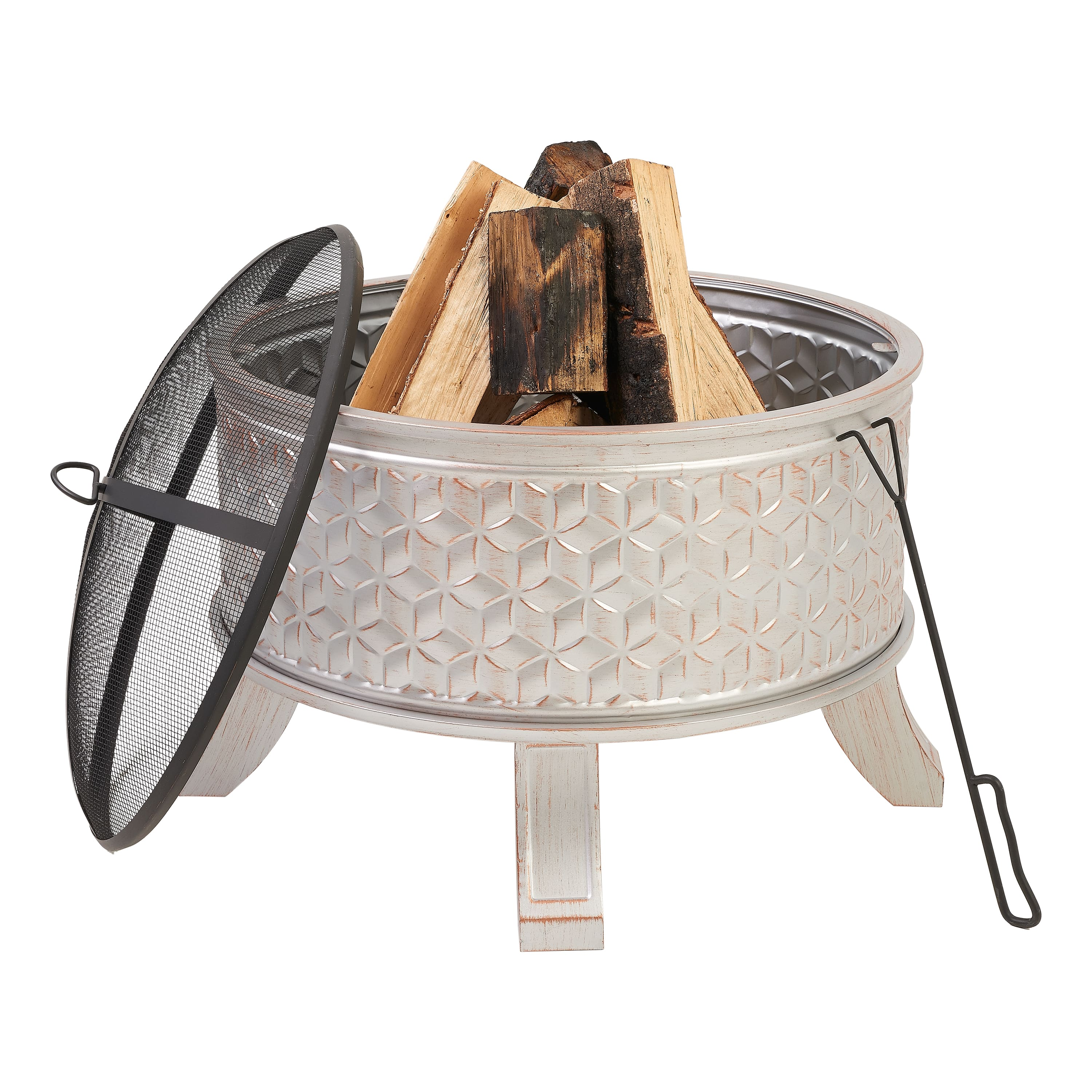 "Mainstays 26"" Steel Wood Burning Fire Pit w/ Mesh Spark Guard $38.64 + Free Shipping"