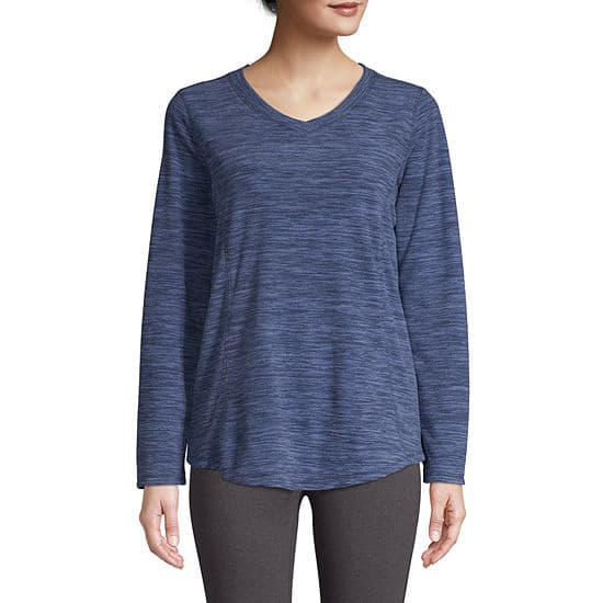 St. John's Bay Women's: V-Neck Polar Fleece Sweatshirt $7.64, Long Sleeve Mock Neck Top $6.79 + Free Store Pickup at JCPenney
