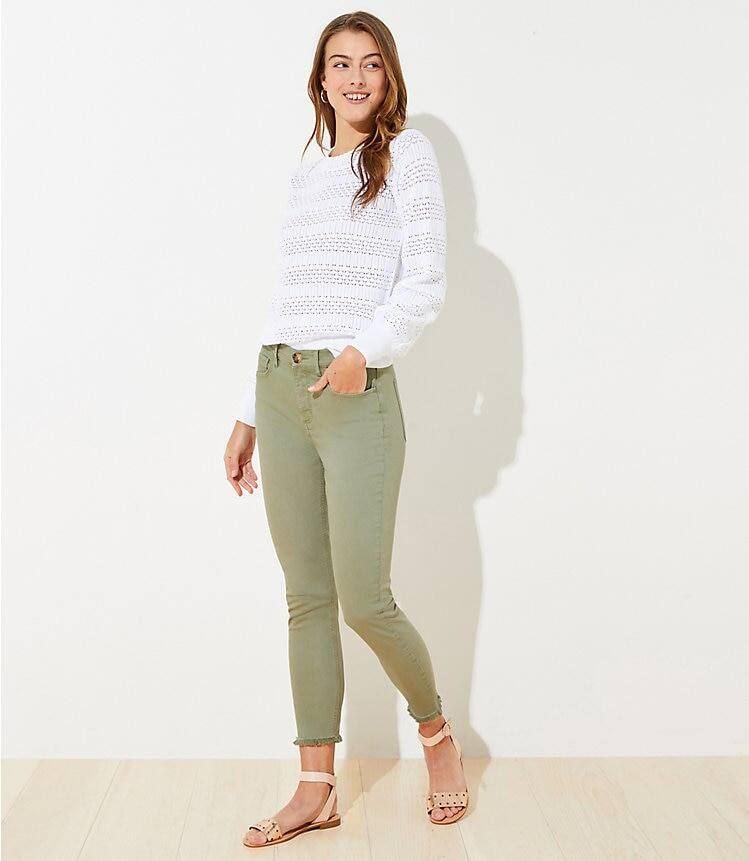 Loft Women's Apparel: Petite High Rise Skinny Crop Jeans $6.70, Plaid Ruffle Cropped Blouse $7.15 & More + FS on $49+