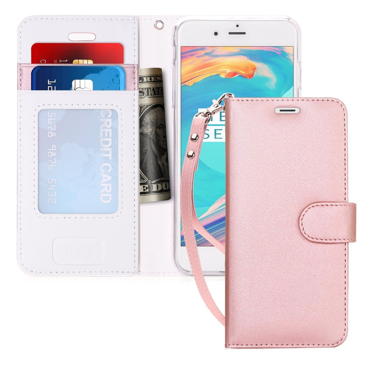 75%off iPhone 7 Case, iPhone 8 Case, FYY [Kickstand Feature] Flip Folio Leather Wallet Case with ID&Credit Card Pockets for Apple iPhone 8/7 (4.7 inch) Rose Gold $1.99