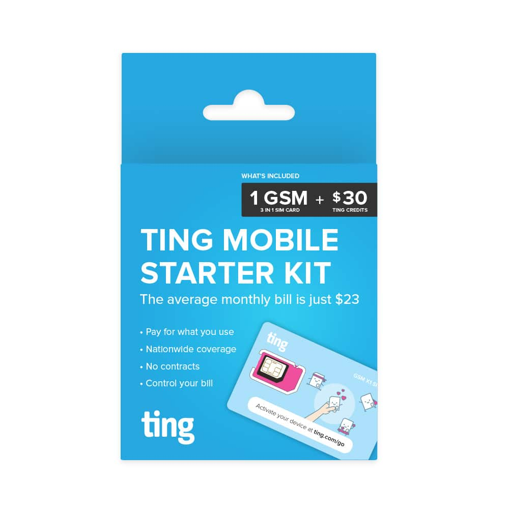 50% Off Ting Mobile Sim Starter Kit with $30 FREE service Included $4.99