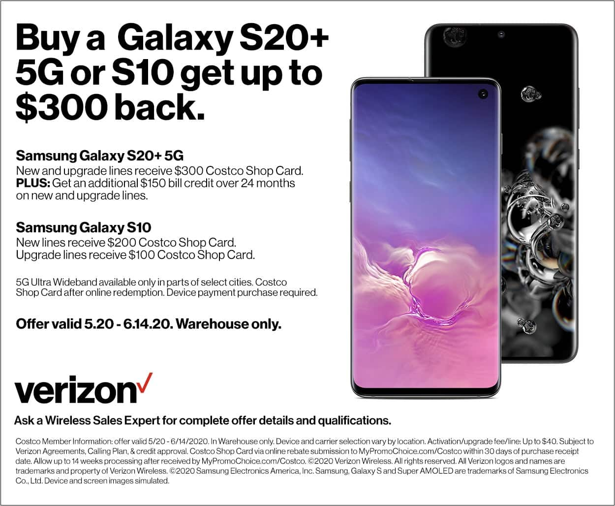 Costco In-Store Offer: Verizon Samsung Galaxy S20+ 5G for $689.99 after $300 Card and $150 Bill Credit w/ Purchase (New + Upgrade Lines) $689.99