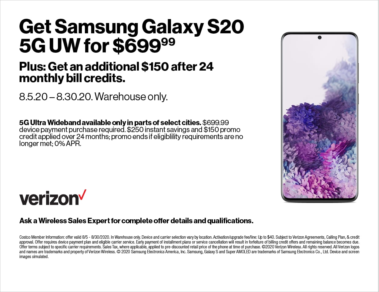 Costco In-Store Offer: Verizon Samsung Galaxy S20 5G UW for $549.99 after $250 Instant Savings and $150 Bill Credit (New + Upgrade Lines)