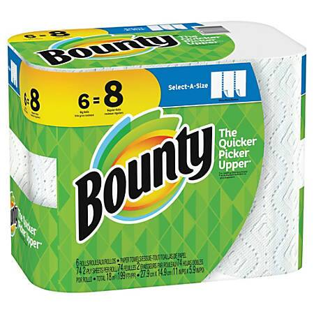 Bounty Select-A-Size 2-Ply Paper Towels, Pack Of 6 Big Rolls $4.63