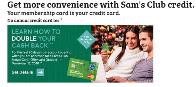 Sam's Club Mastercard 90 day Double Cash Back Promo for new apps until 11/12/16
