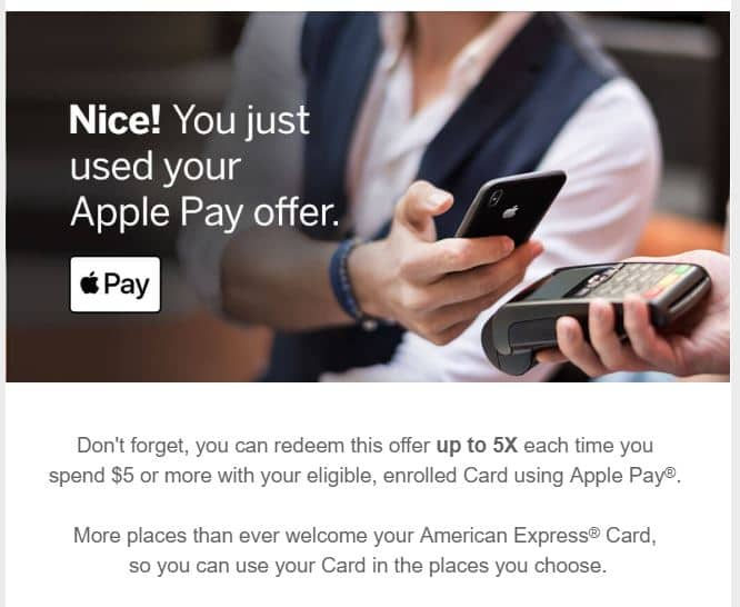 Amex offer: APPLE PAY Spend $5 or more, get 200 Membership Rewards® Points, up to 5x (YMMV)