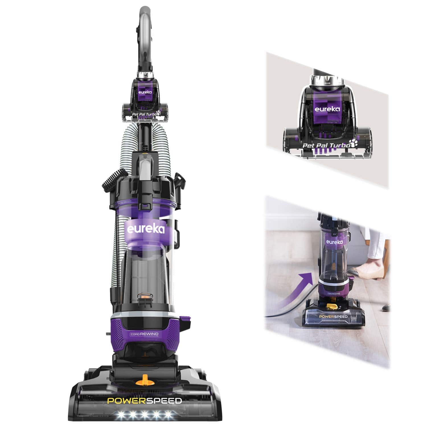 Eureka NEU202 Upright Vacuum Cleaner with Automatic Cord Rewind and LED Headlight + Free Shipping $119.98