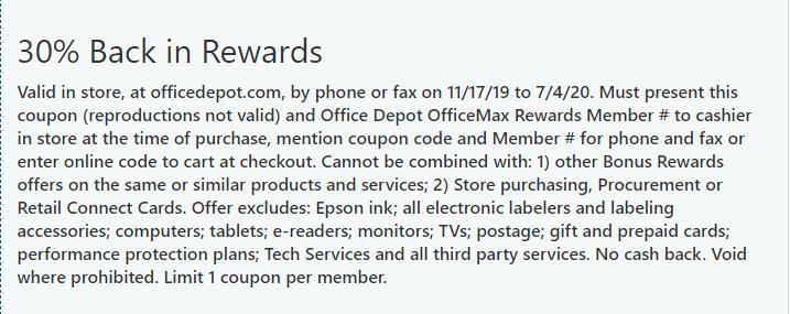 Office Depot: (Restrictions Apply) 30% Back in Office Depot Rewards