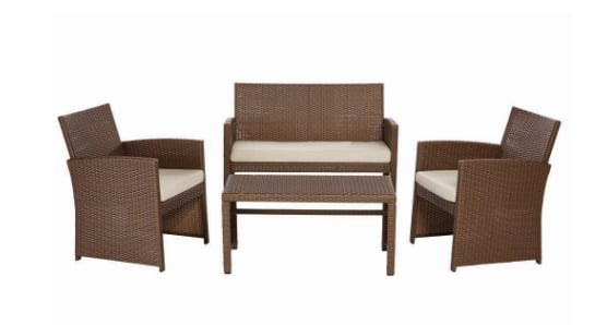 Park Trail Brown 4-Piece Wicker Patio Conversation Set for $199 @ homedepot