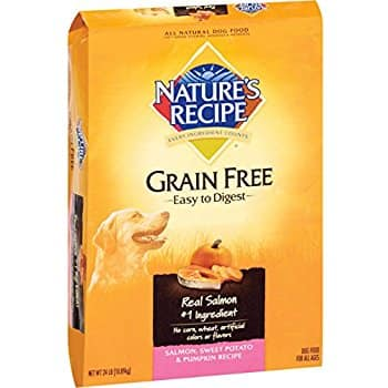 Amazon Prime Nature's Recipe dog food grain free salmon pumpkin 24lbs $18.39 + tax