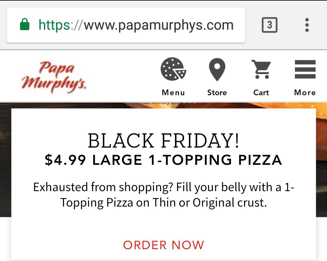 Papa Murphy's $5 large 1 topping