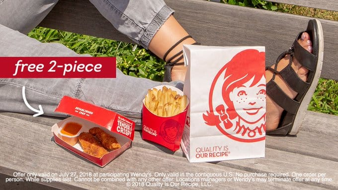 Wendy's 2-Piece Chicken Tenders FREE with PASSWORD JULY 27th