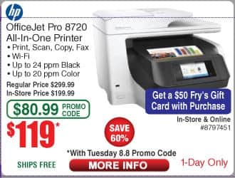 Fry's HP OfficeJet Pro 8720 All-in-One Printer $119 Shipped with Daily Promo Code, Bonus $50 Gift Card with In Store Purchase