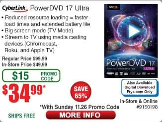 Fry's Powerdvd 17 Ultra $35 (with Promo Code) + Free Shipping or Free Store Pickup