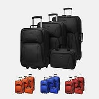 Tanga Deal: $73.99 +$4.99 shipping for US Traveler St. Michelle lightweight 4-piece rolling luggage set that comes with 3x upright rollers and 1x travel tote bag in 5x color!!
