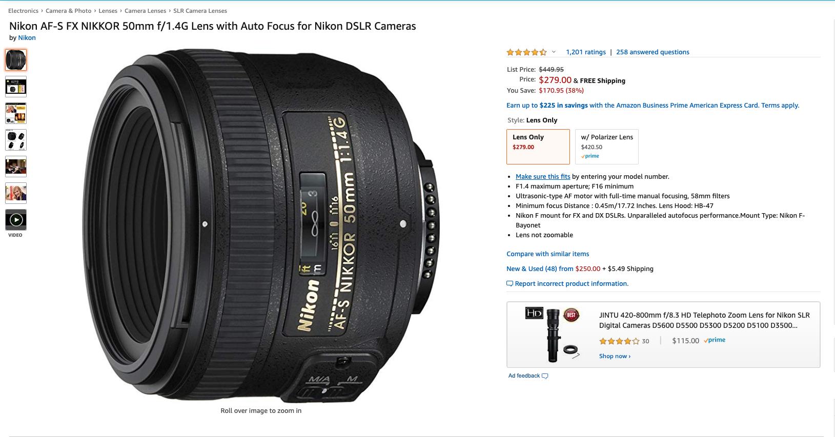 Nikon AF-S Nikkor 50mm f/1.4G Wide Angle Lens $279