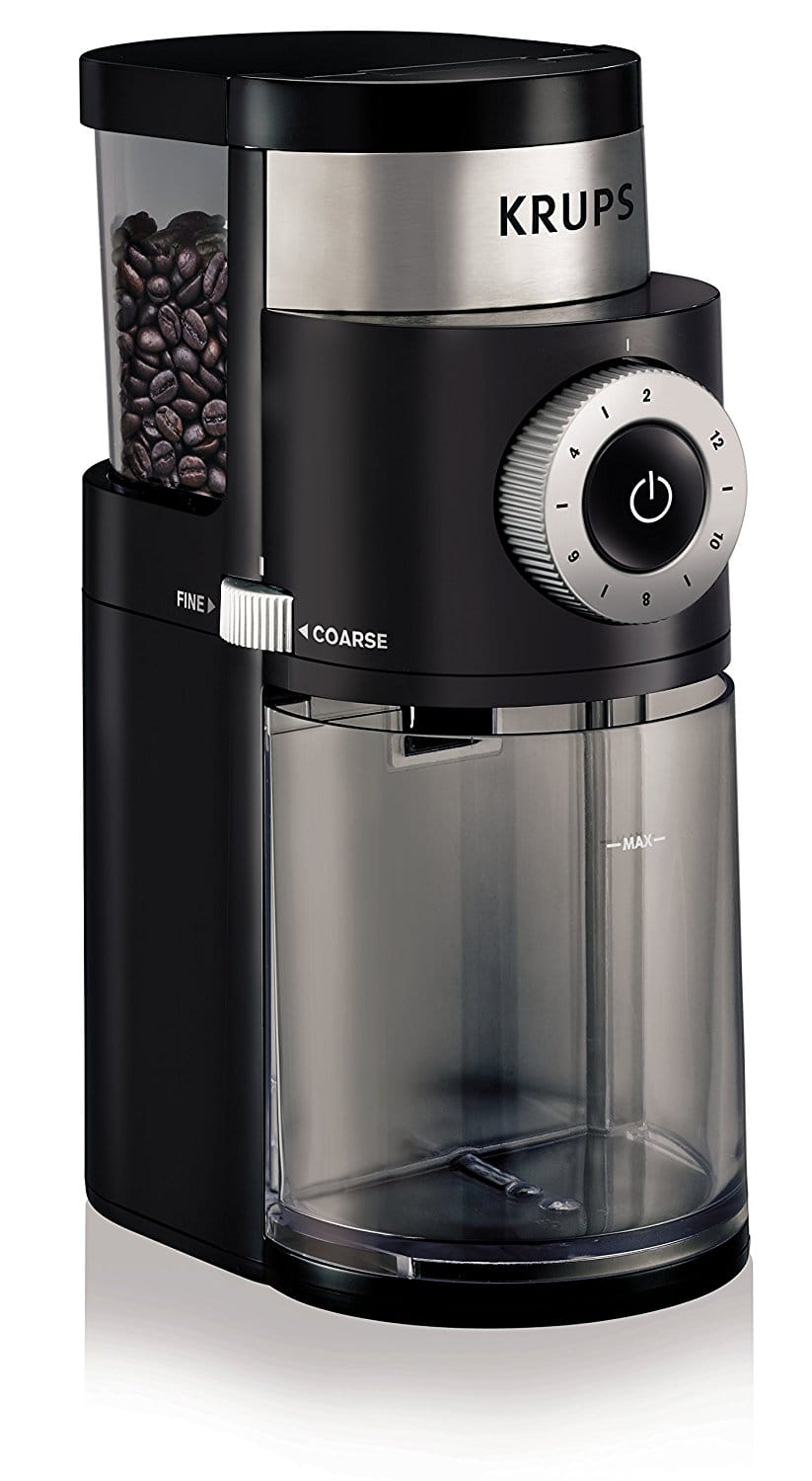 KRUPS GX5000 Professional Electric Coffee Burr Grinder with Grind Size and Cup Selection, 7-Ounce, Black for $15; FS with Amazon prime.
