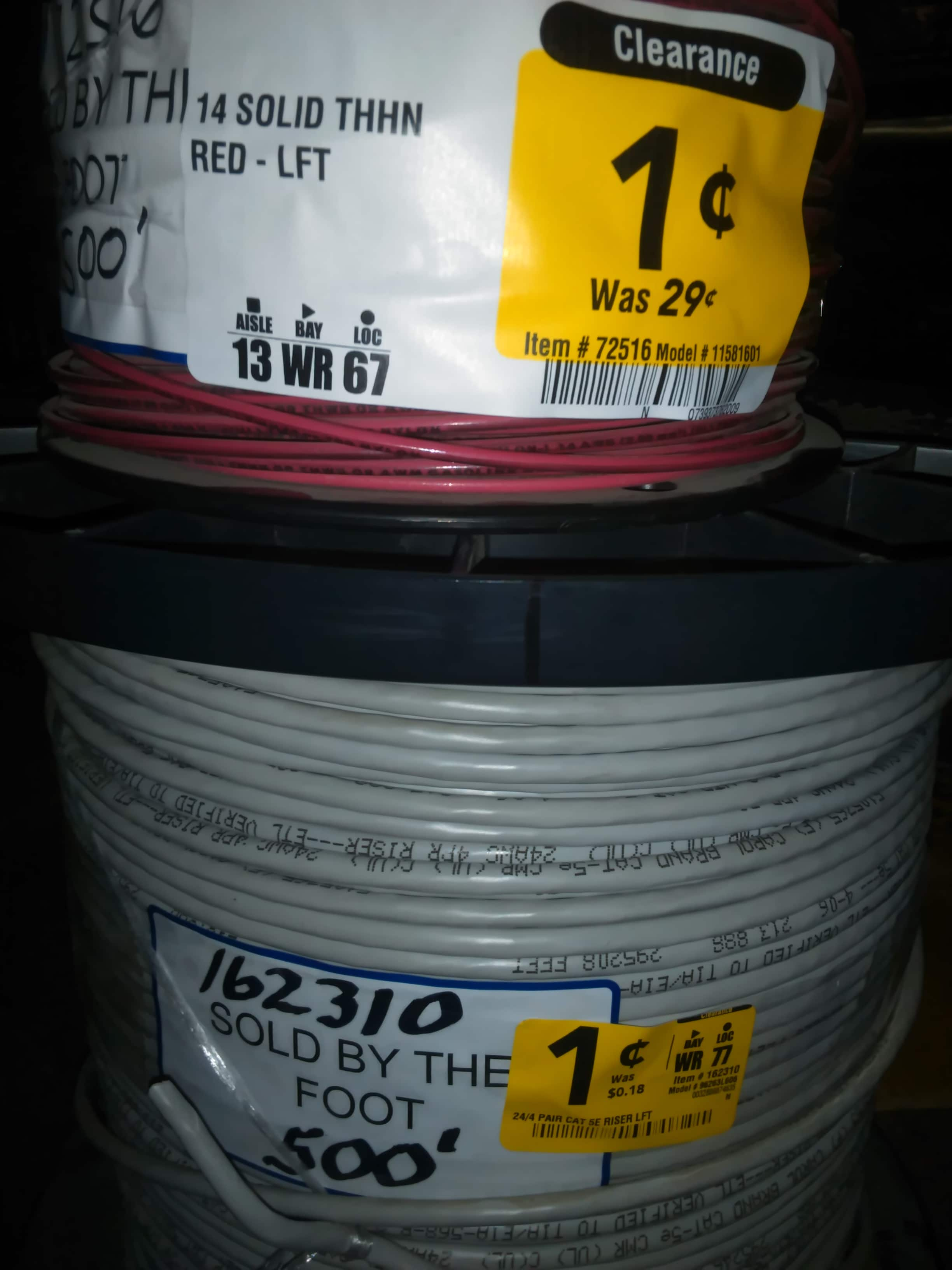 Clearance Southwire Electrical Wire and Cat 5e Starting @ $0.01/ft Lowes B&M & Online YMMV - Possible Scrap Metal MM