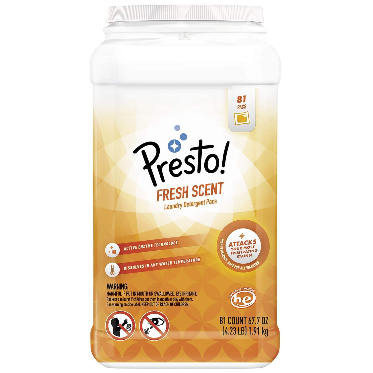 Amazon Brand - Presto! Laundry Detergent Pacs, Fresh Scent, 81 Count 5% s&s $8.24 15% s&s $7.38