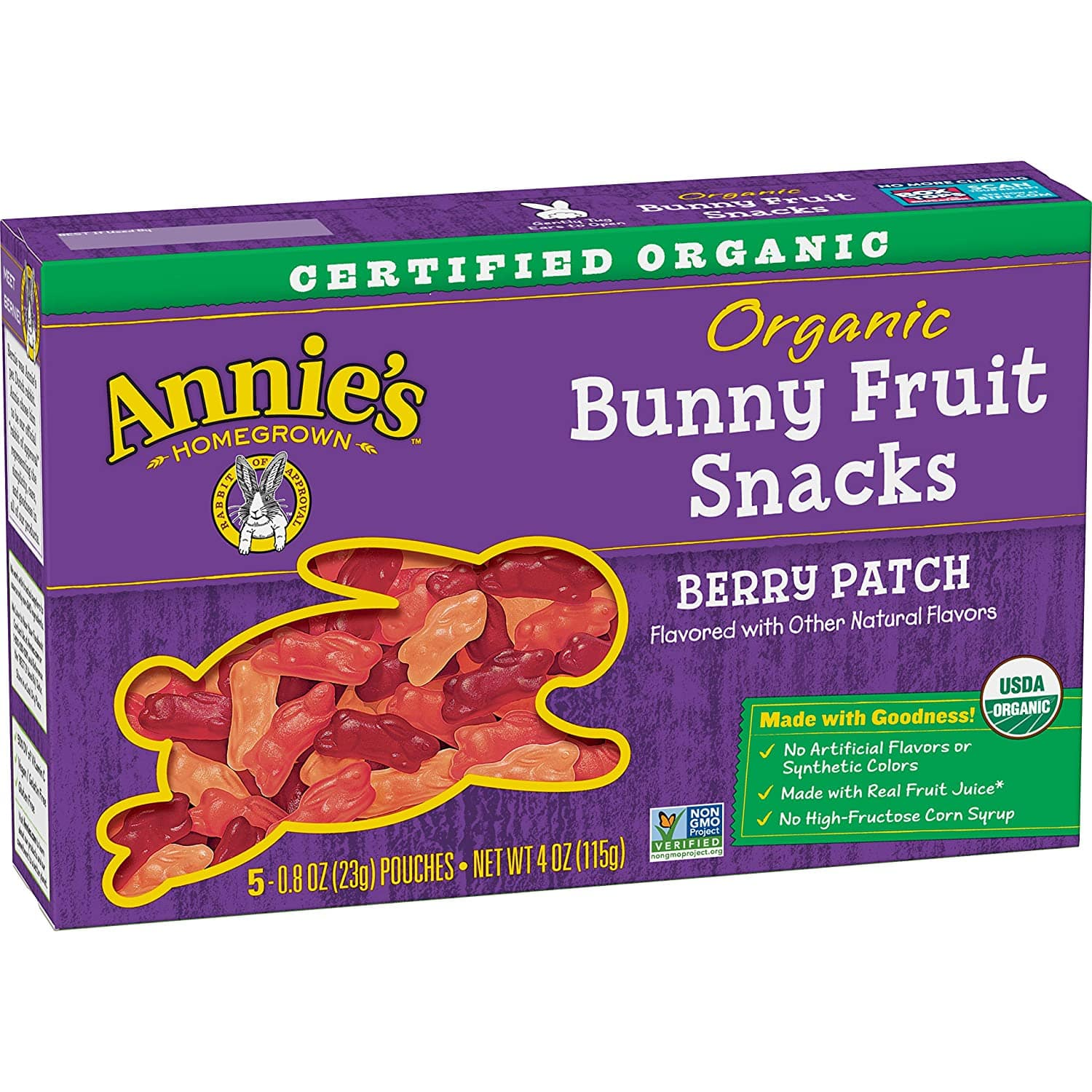 Annie's Homegrown Organic Bunny Fruit Snacks, Berry Patch - 5 pack, 0.8 oz pouches $1.89