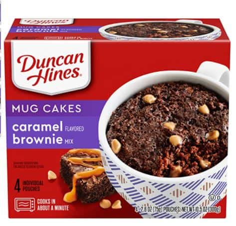 Duncan Hines Mug Cakes Caramel Flavored Brownie Mix, 4 - 2.6 OZ Pouches $1.67