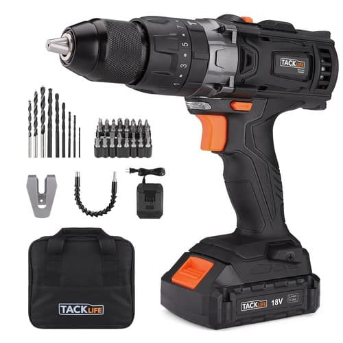 Cordless Drill Driver 20V 1/2' Metal Chuck,2 Speeds and Big Torque Hammer Drill Set with 43pcs $39.97@Amazon
